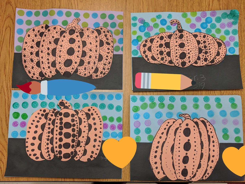 Yayoi Kusama inspired pumpkins by third grade.