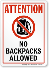 No Backpacks On Last Day - May 24th