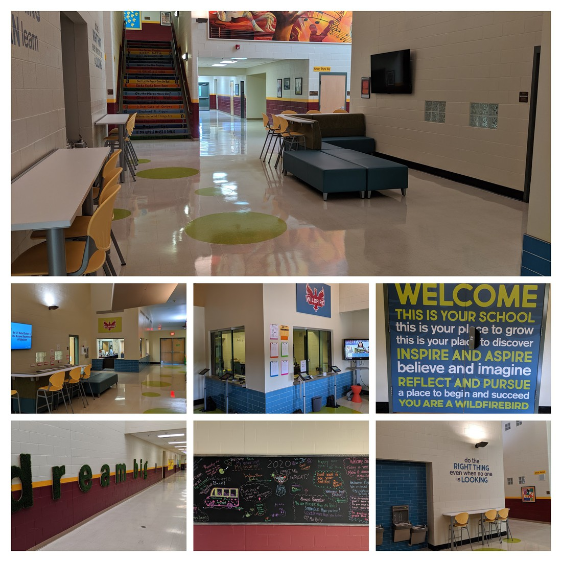 a collage of pictures showing changes to the building in the school beautification project