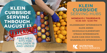 Klein Curbside Serving Hours, Free Meal Kits, Free and Reduced Lunch