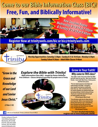 WE WELCOME YOU TO TRINITY'S BIBLE INFORMATION CLASS