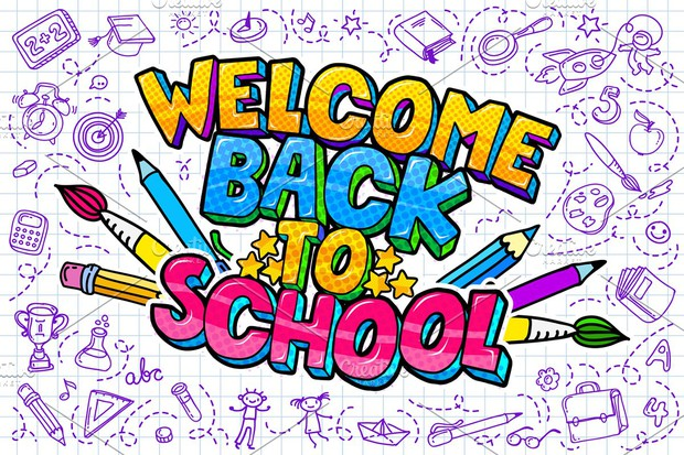 Weclome Back 2 School Clip art of various educational tool graphics such as pencils, markers, and paint brushes.
