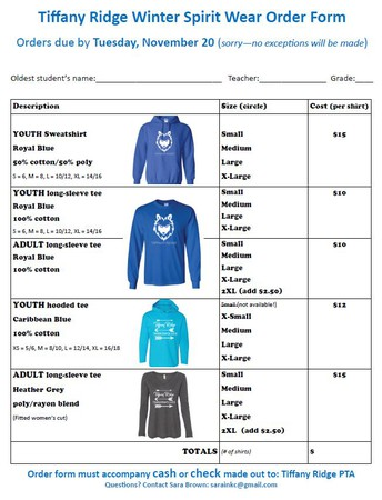 Timberwolf Spirit Wear Available!