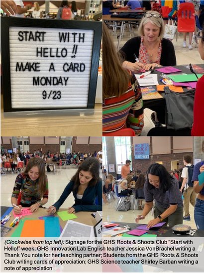 A collage of photos from GHS Starts with Hello Week including students and teachers filling out cards of appreciation for friends and colleagues