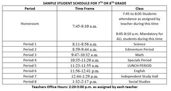 Grades 7-8 Regular Schedule
