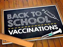 Back to School vaccinations message written on a chalkboard
