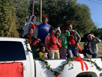 Students representing their church in the parade.