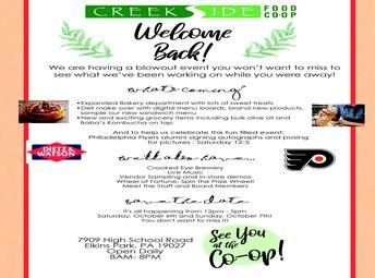 Welcome Back Creekside Coop