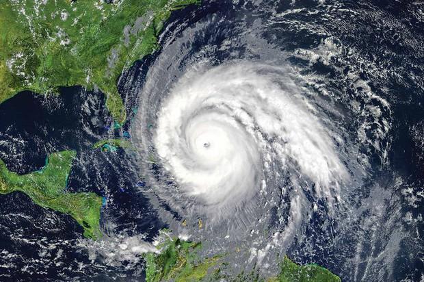Eye of a hurricane hitting Florida