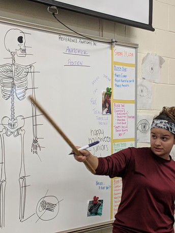 Annaliesa Williams teaching the Skeleton to Exploring Students
