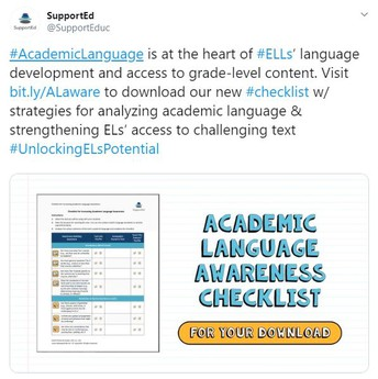 #AcademicLanguage is at the heart of #ELLs' language development and access to grade-level content.