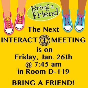 Interact Meeting - Bring a Friend! - 1/26
