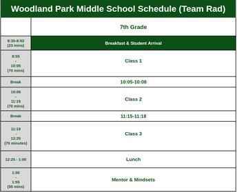 Team Rad Daily Schedule