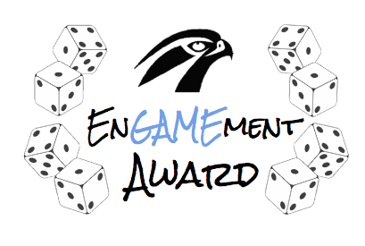 """""""EnGAMEment Award"""" for student engagement. Black falcon head logo with 4 dice on each side. Click for details."""