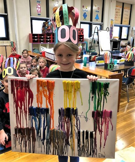 """Kindergarten student Eleanor Youdath created a melted crayon masterpiece to demonstrate her """"counting to 100"""" proficiency, as well as her creativity."""