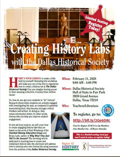 Flyer for Creating History Labs on February 11 at Fair Park with the Dallas Historical Society.