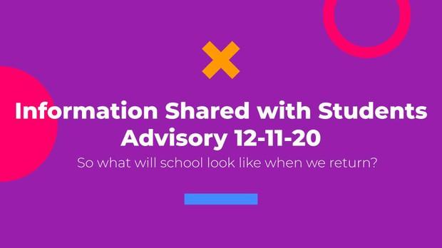 Return to School Information