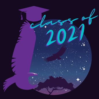 "inspire spirit mark graphic with purple background, purple hawk and inspire 'i"" with a graduation cap over the ""i"". fancy font that reads ""class of 2021."""