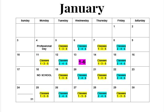 January Calendar