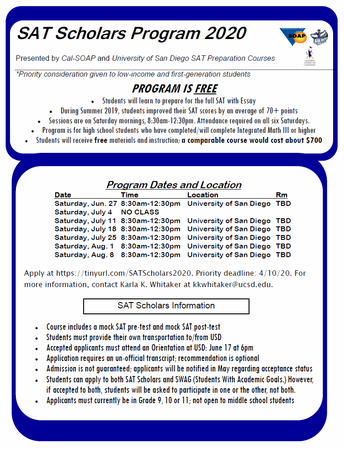 SAT Scholars Summer Program Information
