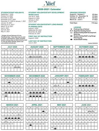 Alief Updated 2020-2021 School Year Calendar