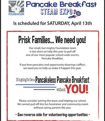 Pancake Breakfast... We Need You!