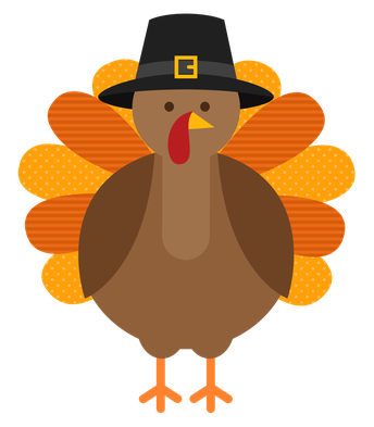 cartoon turkey in pilgram hat