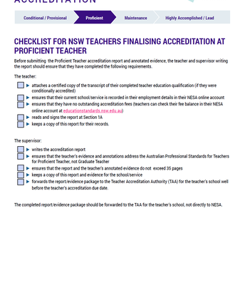 NESA: Accreditation at Proficient Teacher Report