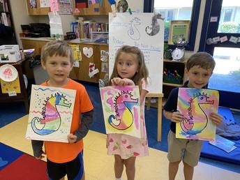 Water-color seahorses