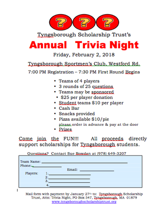 Tyngsborough Scholarship Trust Trivia Night
