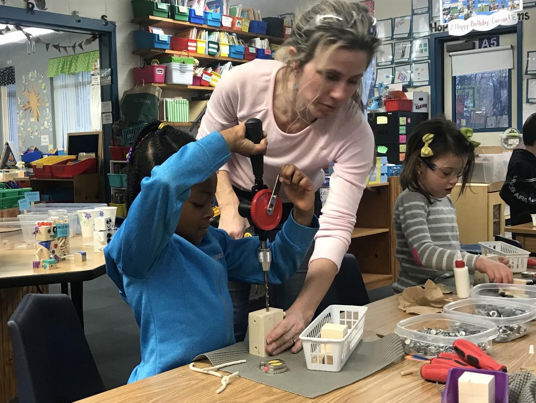 Erica Sawabini brought her carpentry skills to Ms. Walcott's and Ms. Antonioli's classes this week!