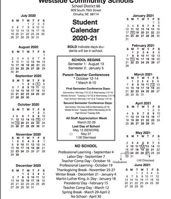 Student Calendar 2020-2021