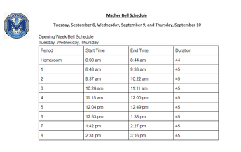 Tuesday, September 8th - Thursday, September 10th Schedule