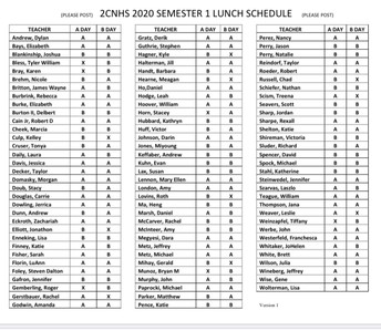 Fall Lunch Schedule - as of Aug 10th