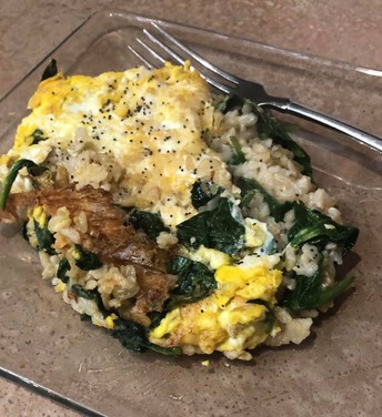 Brown Rice, Egg & Spinach - Simple and Delicious