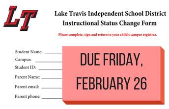 Instructional Change Form due Fri. Feb. 26