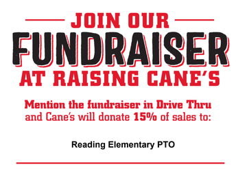 Join our fundraiser at Raising Cane's, restaurant will donate 15% of sales to Reading Elementary PTO