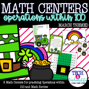 March Math Centers: Operations within 100