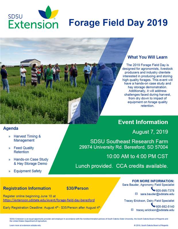 SDSU 2019 Forage Field Day flyer