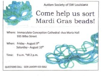 Help the Autism Society Sort Mardi Gras Beads!