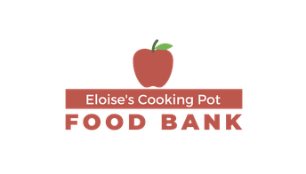 Image of a red apple and text that says Eloise's Cooking Pot Food Bank