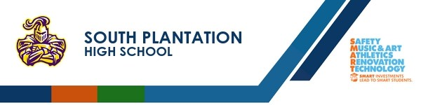 A graphic banner that shows South Plantation High School's name and SMART logo