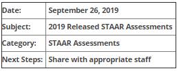 TEA will release STAAR 2019 assessment questions...