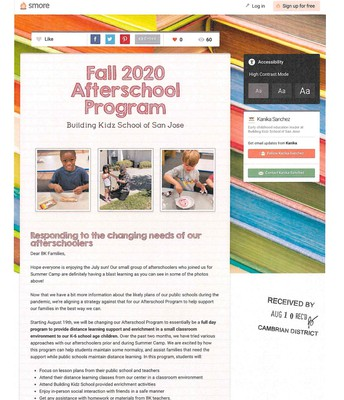Fall 2020 Afterschool Program