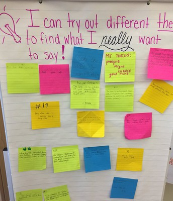 Grade 5 enriches their writing by brainstorming and exchanging strategies