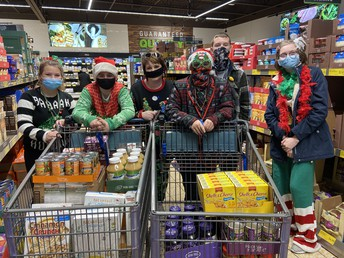 8th graders doing some shopping for a local food pantry.