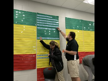 Teachers working with our school data.