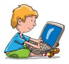 cartoon drawing of child with laptop