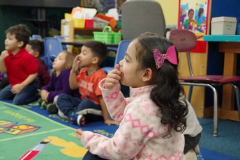 Preschoolers at Metcalf engaged in circle time