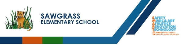 A graphic banner that shows Sawgrass Elementary School's name and SMART logo